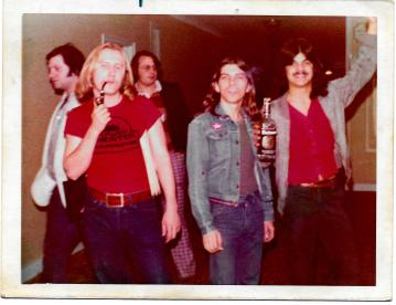 Doug, Tony and Lenny at IBS Convention, NYC, 1974 or 1975 w more contrast